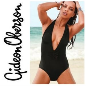 Gideon Oberson Black Plunge Halter 1-pc Swimsuit
